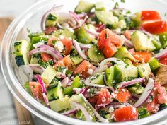 Super Fresh Cucumber Salad is a cold, crunchy, juicy mix of flavorful vegetables topped with a simple red wine and oregano vinaigrette. Step by step photos.