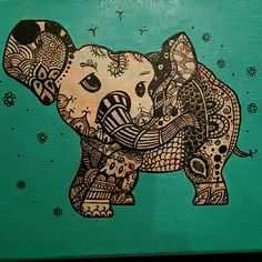 Teal and black baby elephant painting Original acrylic elephant painting. Gallery painted on 8x12 canvas. Great for baby's room Other