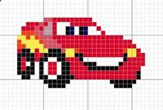 La caverna del mamut: Esquema – Rayo McQueen (cars) The mammoth cavern: Scheme – Lightning McQueen (cars) Easy Cross Stitch Patterns, Simple Cross Stitch, Cross Stitch Baby, Perler Patterns, Loom Patterns, Beading Patterns, Pixel Crochet, Crochet Chart, Kids Knitting Patterns
