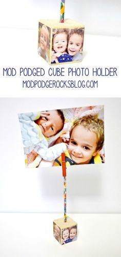 Create a unique DIY photo holder using a small wood cube and your favorite photos! Just add decoupage medium and you're done.