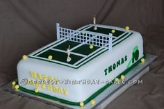 This awesome tennis cake was made for three boys, all brothers, whom all play tennis. They are all top of their tennis league and will be ones to wa. Number Birthday Cakes, 70th Birthday Cake, Number Cakes, Themed Birthday Cakes, Themed Cakes, Fondant Cookies, Cupcakes, Tennis Cake, Play Tennis