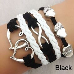 Black & White Double Heart Infinity Bracelet $8 http://www.sixshootergiftshop.com/collections/multiple-stranded-bracelets/products/black-white-double-heart-infinity-bracelet