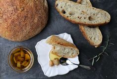 Artisan bread with rosemary oil