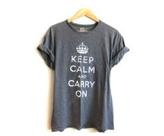 Keep Calm and Carry On Tee. Hand stenciled with rolled cuffs in heather grey OR pick your own color!