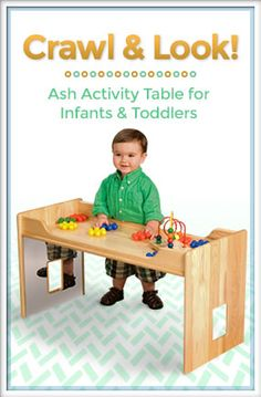 Play peek-a-boo while watching infants and toddlers enjoy walking around, climbing on, crawling thru, and discovering themselves! A perfect table for the classroom. #ece #earlyed