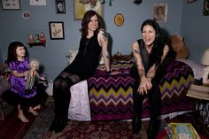 Laura Jane Grace (formerly Thomas James Gabel of Against Me!), wife Heather Hannoura and daughter Evelyn.  <3