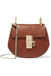 Drew mini croc-effect leather and suede shoulder bag
