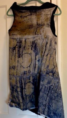 Back of silk-screened chiffon nuno felted vest by Tinct handdyes