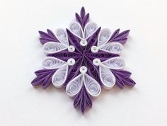 Snowflakes Violet White Christmas Tree Decor Winter Ornaments Gift Toppers Fillers Office Corporate Paper Quilling Quilled Handmade Art This is a unique handmade quilled snowflake! Amazing Christmas gift for Your loved ones and suitable for all winter occasions. You can hang it on