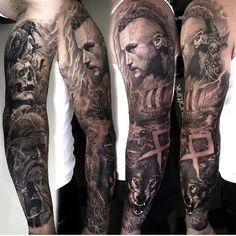 ▷ 1001 cool and realistic Viking tattoos for inspiration - tattoo-nordic-wolf-bird-skull-ragnar tattoo sleeve - Viking Tattoo Sleeve, Norse Tattoo, Arm Sleeve Tattoos, Celtic Tattoos, Ragnar Lothbrok, Vikings Ragnar, Lagertha, Life Tattoos, Body Art Tattoos