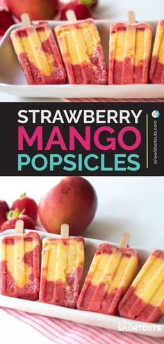 Strawberry Mango Popsicles Recipe - A Few Shortcuts - Best of A Few Short Cuts - If you are going to make one homemade freezer pop let it be this Strawberry Mango Popsicles Recipe. Köstliche Desserts, Frozen Desserts, Summer Desserts, Summer Recipes, Delicious Desserts, Yummy Food, Mango Dessert Recipes, Popsicle Recipe For Kids, Healthy Popsicle Recipes