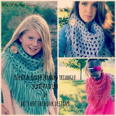 This is a PDF crochet pattern for a soft, bulky, and warm Fringed Triangle Scarf! Fringe is everywhere in fashion right now so this is the perfect quick and easy totally FAB pattern to add to your collection!!. I've included toddler, child and adult size. I've designed this scarf to work up really fast!! You will use 1 strand of Loops & Threads cozy wool or Bernat Roving yarn with a Q hook. This pattern is suitable for beginners and includes pictures and email support!!