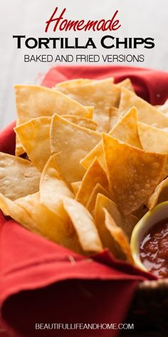 Easily make homemade fried tortilla chips, or baked tortilla chips! Your choice! Only three ingredients to make the best tortilla chips you've ever had! Homemade Tortilla Chips Baked, Best Tortilla Chips, Flour Tortilla Chips, Homemade Flour Tortillas, Chips From Tortillas, Corn Tortilla Recipes, Nacho Chips, Fried Tortillas, Easy Banana Bread