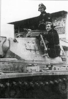 "Christian Tychsen of ""Das Reich"" on his tank."