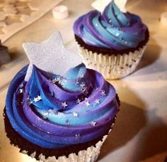 Galaxy Doctor Who themed cupcakes with cream cheese frosting.