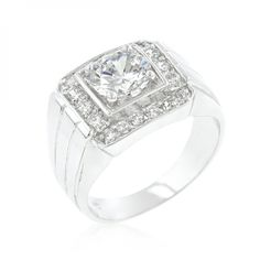 Genuine Rhodium Plated Men's Ring with Princess Cut Clear Cubic Zirconia Center Stone Surrounded by Round Cut Clear Cubic Zirconia Accents in a Prong Setting Polished into a Lustrous Silvertone Finish. #mycustommade