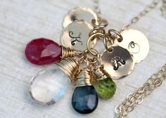 Hand Stamped Birthstone Necklace GOLD Personalized by MangoJewels, $75.00