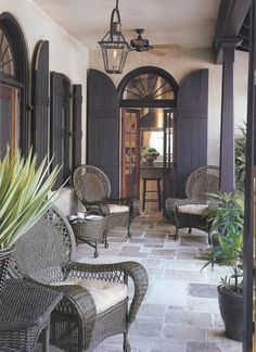 Grey flagstone floor, French doors with grey shutters and grey rattan furniture. - Grey flagstone floor, French doors with grey shutters and grey rattan furniture. Just lovely. Outdoor Rooms, Outdoor Living, Outdoor Decor, Outdoor Patios, Outdoor Kitchens, Indoor Outdoor, Interior Exterior, Exterior Design, Exterior Paint