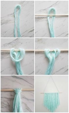 How to make a simple DIY wall hanging with yarn - A Q .- Wie erstelle ich eine einfache DIY Wandbehang mit Garn – A Quick & Easy DIY – How to make a simple DIY wall hanging with yarn – a quick & easy DIY – - Pot Mason Diy, Mason Jar Crafts, Wine Bottle Crafts, Fun Crafts, Diy And Crafts, Diy Crafts Yarn, Diy Crafts Simple, Creative Crafts, Creative Wall Decor