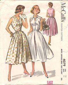 1950s Womens Shirtdress  Vintage Pattern McCalls by ErikawithaK