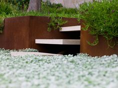 Corten Steel Planter and stone steps