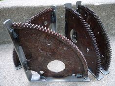 Rusty and Cool Engine Gear Shelf Brackets by ScrapyardArt on Etsy, $75.00