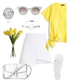 """""""White. Yellow. And New Car."""" by schenonek ❤ liked on Polyvore featuring Sun Buddies, WÃ¥ven, J.Crew, Skagen, Melissa, L.K.Bennett and Swarovski"""
