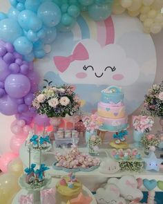 Girl Birthday Decorations, Baby Shower Decorations For Boys, 30th Birthday Parties, Sweet 16 Birthday, Cloud Party, Childrens Party, Unicorn Party, Balloons, Pastel