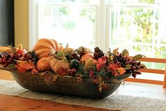 Dough Bowl Centerpiece for your farm table: filled with seasonals Fall Home Decor, Autumn Home, Thanksgiving Centerpieces, Fall Table Decorations, Bowl Centerpieces, Stage Decorations, Thanksgiving Table, Wedding Decorations, Fall Arrangements