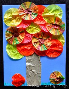 Fall Cupcake Liner Tree Craft  - Pinned by @PediaStaff – Please Visit  ht.ly/63sNt for all our pediatric therapy pins