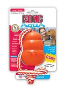 KONG Aqua Large - The KONG Aqua, formerly the Cool KONG, is a floating retrieval toy that promotes fun and exercise both in and out of water. The KONG Aqua has a foam core that keeps it floating while your dog swims out to fetch it. Kong Dog Toys, Pet Toys, Online Pet Supplies, Dog Supplies, Aqua, Jouet Kong, Dog Fetch Toy, Gerbil, Interactive Toys