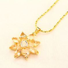 Citrine Yellow and Clear Premium AAA CZ Flower Gold Plated Pendant Necklace ~ Just click on picture 2x to be taken to the item to be purchased!