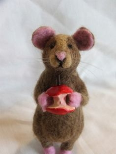 Needle Felted Rat with Apple Core
