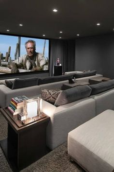 Cool Modern Home Theater Inside a Contemporary Luxury LA Mountain Mansion! - Who knew watching movies at home could be done in style? This modern home theater design feels supe - Modern Mansion Interior, Luxury Modern Homes, Modern Home Interior Design, Luxury Homes Dream Houses, Dream Home Design, Home Theater Room Design, Home Cinema Room, Home Theater Rooms, House Inside