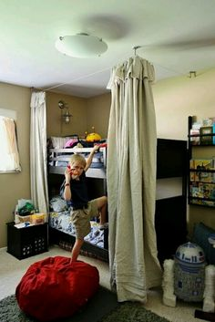 bunk beds with drop cloth fort lol i plan on using the ikea dignitet curtain system too that way it gives me a good idea of what it will look like