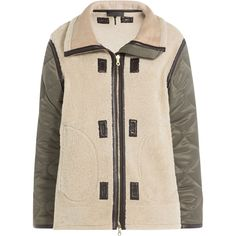 Rag & Bone Mixed-Media Shearling Coat ($1,120) ❤ liked on Polyvore featuring outerwear, coats, beige, long sleeve coat, rag bone coat, shearling coat, collar coat and pink coat