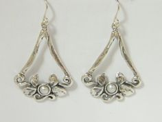 Sterling Silver Triangle Earrings With Flowers And FW Pearl