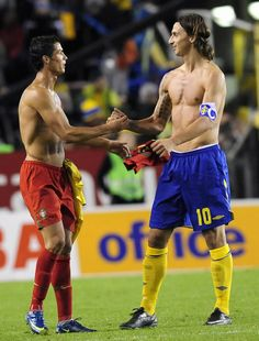 Zlatan Ibrahimovich and Cristiano Ronaldo...... Why I don't mind how much soccer my husband watches lol