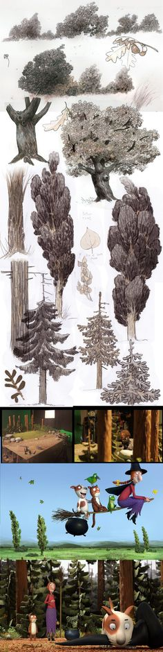 Environment design. Nature style for Room on the Broom by Manu Arenas — drawing trees nature study –