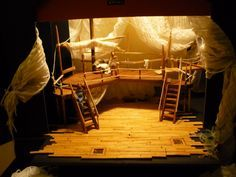 Set designed by Kelly Jago. I like the levels and the use of fabric and wood. Design Set, Set Design Theatre, Stage Design, Design Model, Event Design, Peter And The Starcatcher, Island Theme, Opus, Le Havre