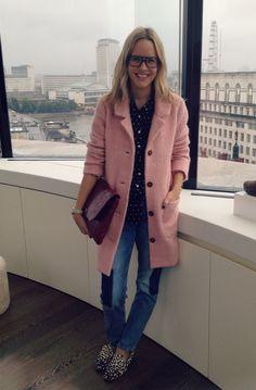 Ganni pink coat LFW
