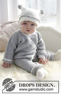 Time for Fun- Set consists of: Knitted baby overall in garter stitch with crocheted edge, hat in garter stitch with crocheted edge and pompoms and socks. Size premature - 4 years Set is knitted in DROPS BabyMerino. Free knitted baby pattern DROPS Baby 31-15