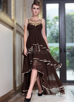 Dark Brown Jewel Neck A-line Zipper Ruffles Polyester Pretty Women's Evening Dress - Milanoo.com