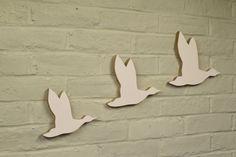 Modern Looking Flying Ducks, in White.  (Set of 3)