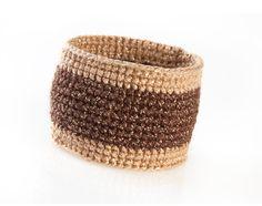 Handmade Crocheted Bracelet. Brown Beige Cotton Bracelet With Golden Lurex Thread. Crochet Jewelry