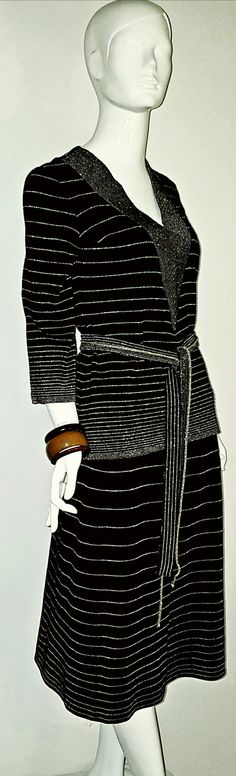 Vintage 70's does 30's Vintage MAGLIA Black and Gold Stripe Knit Skirt and Top Ensemble