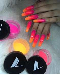 52 best neon nail designs that are perfect for summer 2019 18 Neon Nail Designs, Acrylic Nail Designs, Dope Nails, My Nails, Uñas Color Neon, Glow Nails, Long Acrylic Nails, Clear Acrylic, Kat Von D
