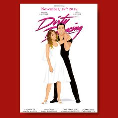 cinema custom wedding invitation save the date card details - movie dirty dancing - vintage - caricature avatar - personalized drawing from your photos