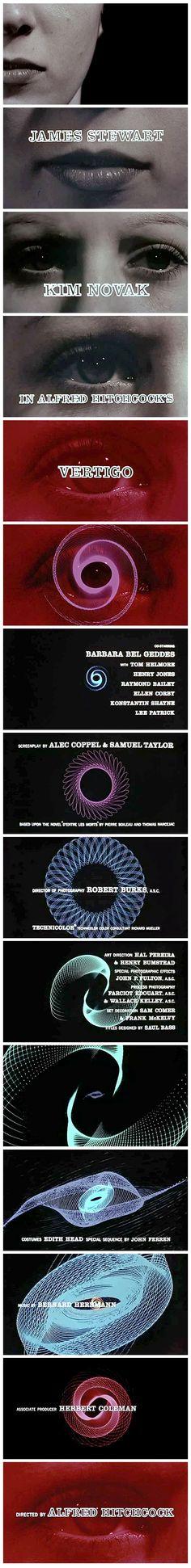 "Saul Bass title designs, ""Vertigo,"" Alfred Hitchcock, 1958"