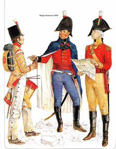 Major-General Hill with another officer and a drummer boy